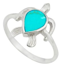 Fine green turquoise enamel 925 silver tortoise ring size 7.5 c21677