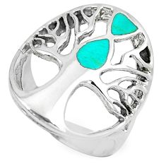 5.65gms fine green turquoise enamel 925 silver tree of life ring size 8.5 c12683