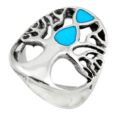 Fine green turquoise enamel 925 silver tree of life ring size 6 c12383