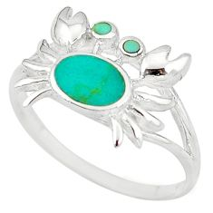 Fine green turquoise enamel 925 sterling silver crab ring size 5.5 a54991 c13365