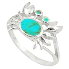 Fine green turquoise enamel 925 sterling silver crab ring size 7.5 c21907