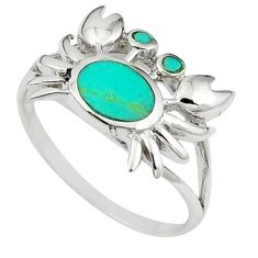 Fine green turquoise enamel 925 sterling silver crab ring size 6 a58877 c13371