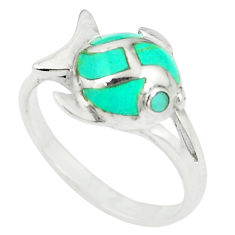 Fine green turquoise enamel 925 sterling silver fish ring size 6 c12980