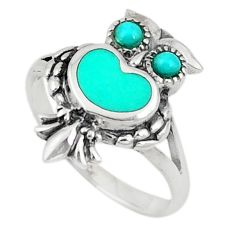 Fine green turquoise enamel 925 sterling silver owl ring size 5.5 c21678