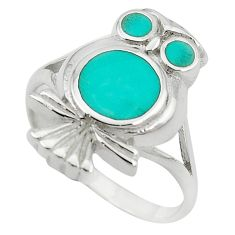 Fine green turquoise enamel 925 sterling silver owl ring size 8 a55112 c13480
