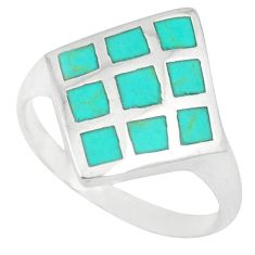 Fine green turquoise enamel 925 sterling silver ring size 8.5 a46506 c13101