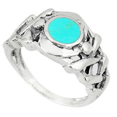 Fine green turquoise enamel 925 sterling silver ring size 6.5 a46510 c13122