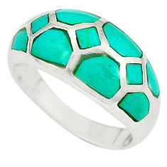 Fine green turquoise enamel 925 sterling silver ring size 8.5 a49489 c13072