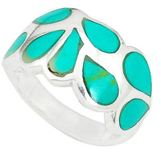 Fine green turquoise enamel 925 sterling silver ring size 5.5 a49498 c13062