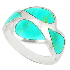 Fine green turquoise enamel 925 sterling silver ring size 7.5 a49569 c13111