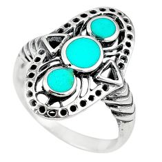 Fine green turquoise enamel 925 sterling silver ring size 8.5 c11950