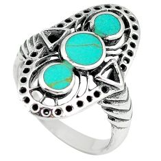 Fine green turquoise enamel 925 sterling silver ring size 6.5 c11954