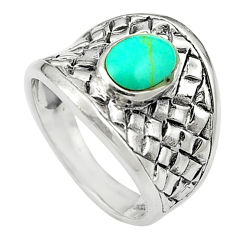 Fine green turquoise enamel 925 sterling silver ring size 6.5 c12173