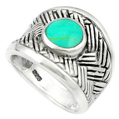 Fine green turquoise enamel 925 sterling silver ring size 5.5 c12343