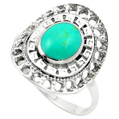 Fine green turquoise enamel 925 sterling silver ring size 8.5 c12350