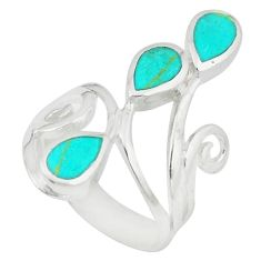 Fine green turquoise enamel 925 sterling silver ring size 5.5 c12607
