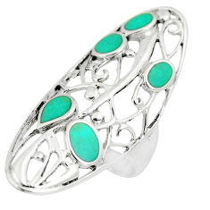 6.02gms fine green turquoise enamel 925 sterling silver ring size 6.5 c12669