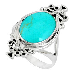 6.26gms fine green turquoise enamel 925 sterling silver ring size 7.5 c12783