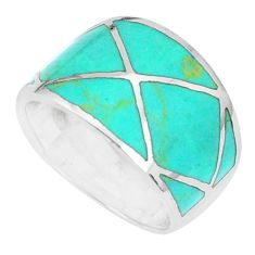 5.89gms fine green turquoise enamel 925 sterling silver ring size 5.5 c12820