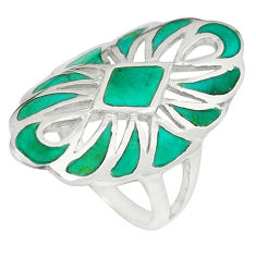 Fine green turquoise enamel 925 sterling silver ring size 6.5 c12883