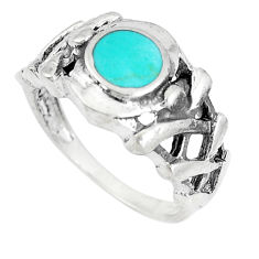 3.68gms fine green turquoise enamel 925 sterling silver ring size 6.5 c21945