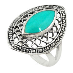 Fine green turquoise enamel 925 sterling silver ring size 8.5 c22325