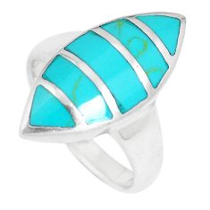 5.87gms fine green turquoise enamel 925 sterling silver ring size 7.5 c26149
