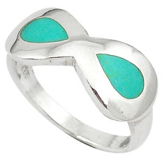 Fine green turquoise enamel 925 sterling silver ring jewelry size 7.5 c12287
