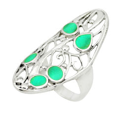 Fine green turquoise enamel 925 sterling silver ring jewelry size 8.5 c12662
