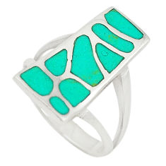 Fine green turquoise enamel 925 sterling silver ring jewelry size 6.5 c21984