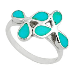 Fine green turquoise enamel 925 sterling silver ring size 6 a64371 c13129