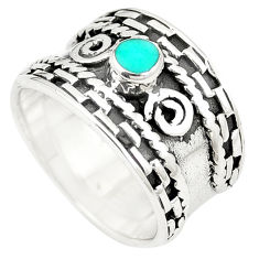 Fine green turquoise enamel 925 sterling silver ring size 6 c12015