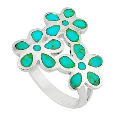 Fine green turquoise enamel 925 sterling silver ring size 6 c12616