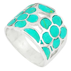 Fine green turquoise enamel 925 sterling silver ring size 7 a67821 c13347