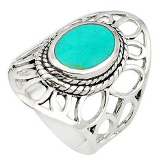 Fine green turquoise enamel 925 sterling silver ring size 7 c12329