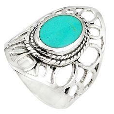 Fine green turquoise enamel 925 sterling silver ring size 7 c12336