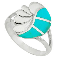 Fine green turquoise enamel 925 sterling silver ring size 8 a64385 c13121