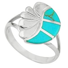 Fine green turquoise enamel 925 sterling silver ring size 8 a64399 c13542