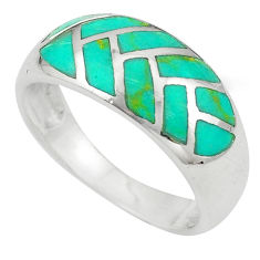 Fine green turquoise enamel 925 sterling silver ring size 8 a64421 c13069