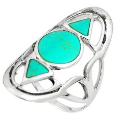 6.48gms fine green turquoise enamel 925 sterling silver ring size 8 c12768