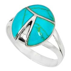 Fine green turquoise enamel 925 sterling silver ring size 8 c21919