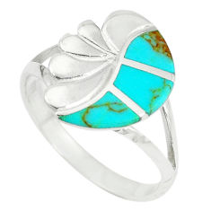 Fine green turquoise enamel 925 sterling silver ring size 9 a67691 c13133