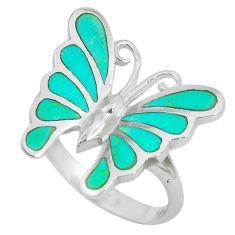 4.69gms fine green turquoise enamel silver butterfly ring size 7 a88696 c13285