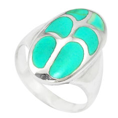 5.89gms fine green turquoise enamel sterling silver ring size 6 a88535 c13106