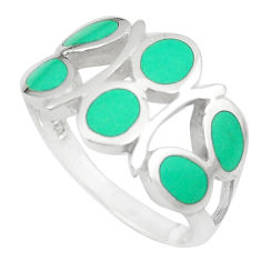 4.26gms fine green turquoise enamel sterling silver ring size 7 a92027 c13135