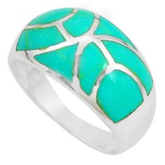 4.89gms fine green turquoise enamel sterling silver ring size 9 a88723 c13063
