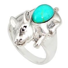 Fine green turquoise fancy 925 sterling silver ring jewelry size 6 c21661