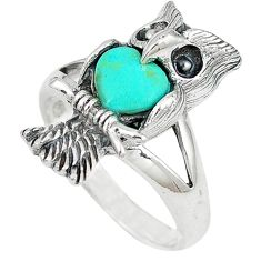 Fine green turquoise heart 925 sterling silver owl ring jewelry size 9 c12260