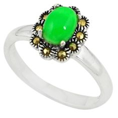 Fine green turquoise marcasite 925 sterling silver ring size 7.5 c22099