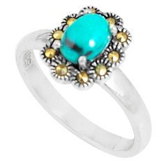 1.70cts fine green turquoise marcasite 925 sterling silver ring size 7 c23633